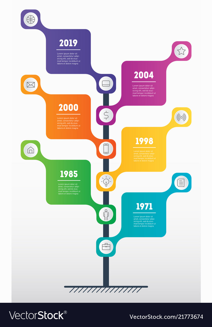 Vertical time line infographics with 6 options