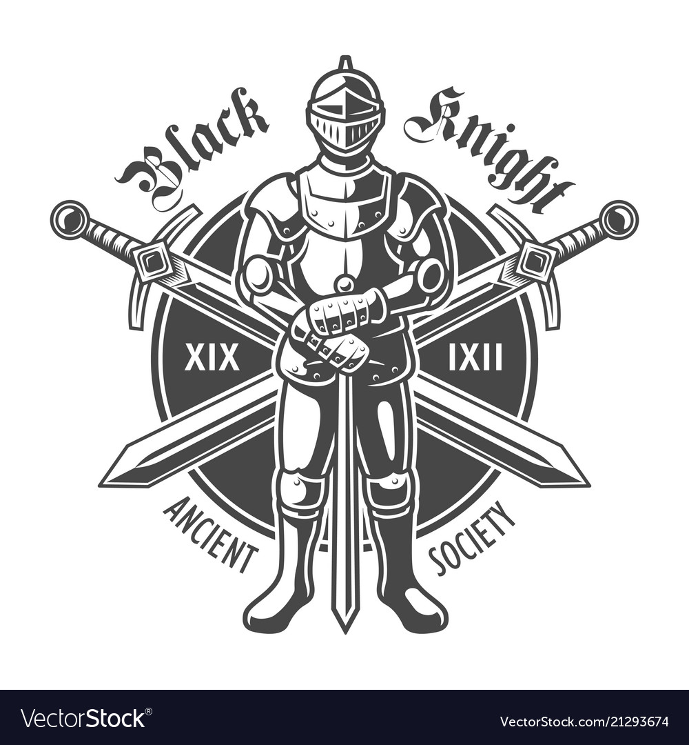 Vintage armored medieval knight logotype vector image