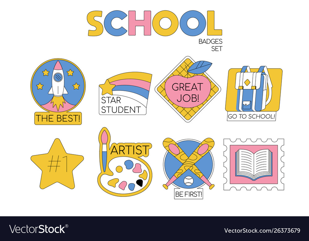 Back to school set collection badges
