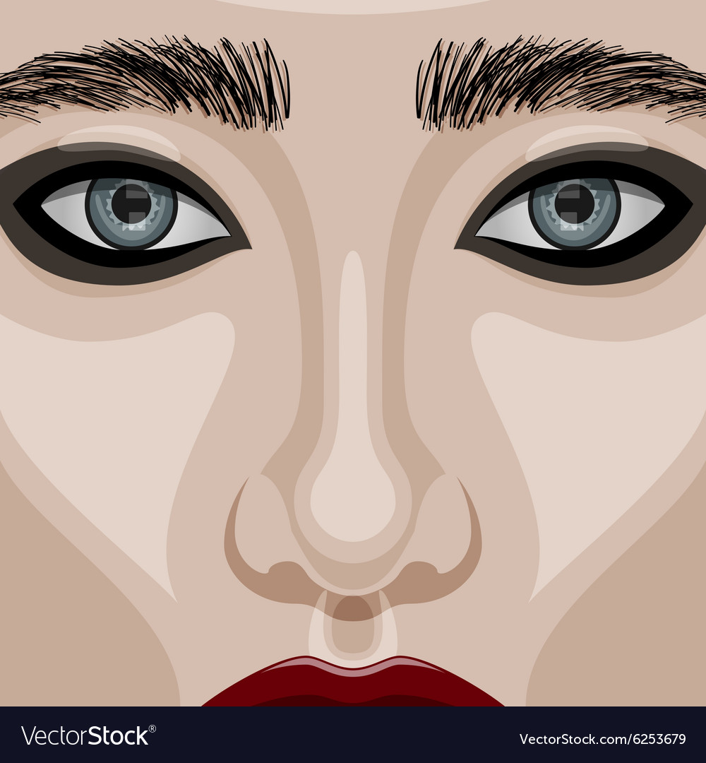 ee876beb508 Beauty Woman Face with big blue Eyes Royalty Free Vector