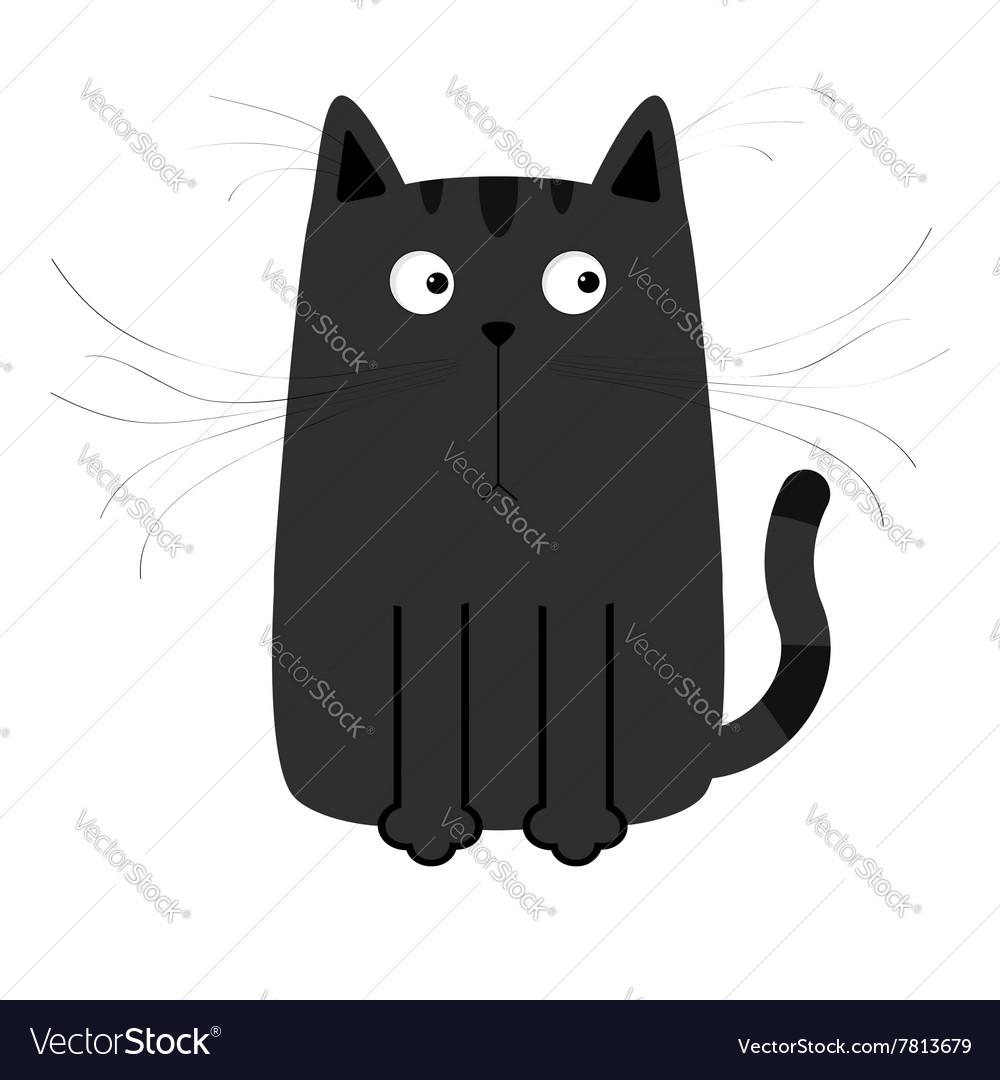 Cute black cartoon cat Big moustache whisker Funny vector image
