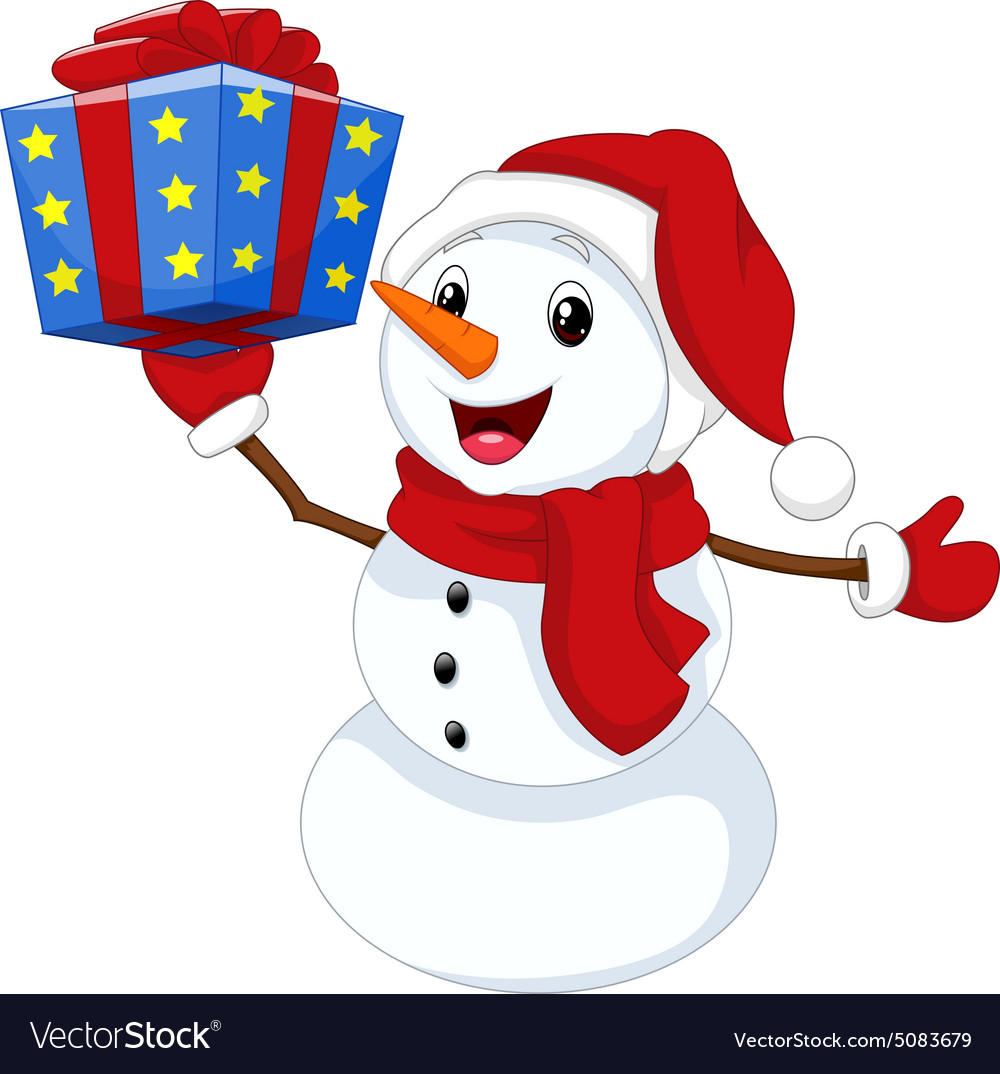 Cute cartoon snowman with gift Royalty Free Vector Image