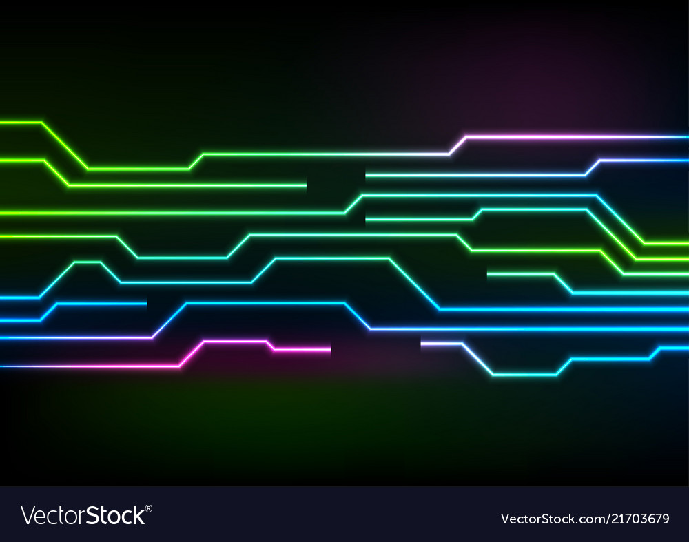 glowing neon circuit board lines on black vector image
