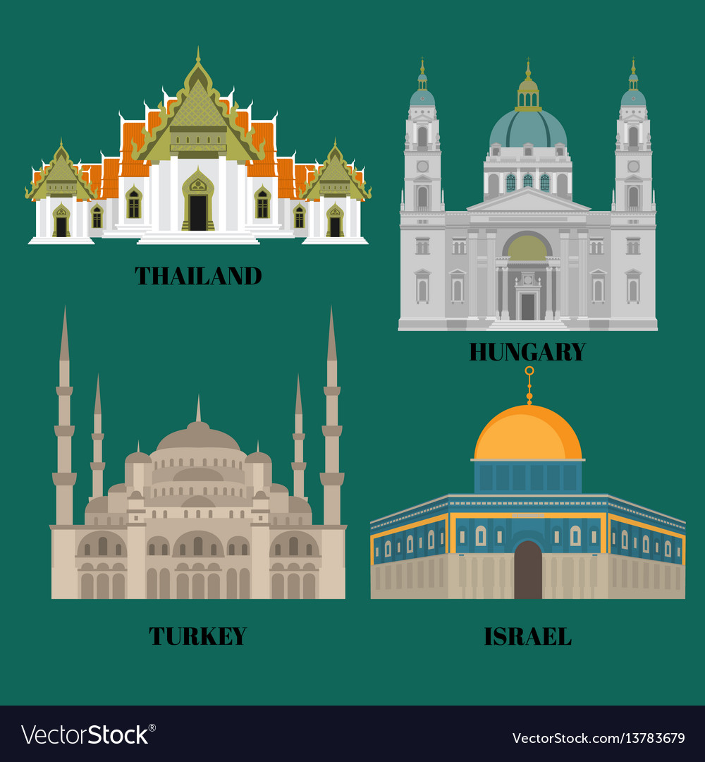 Israel hungary turkey and thailand travel icons
