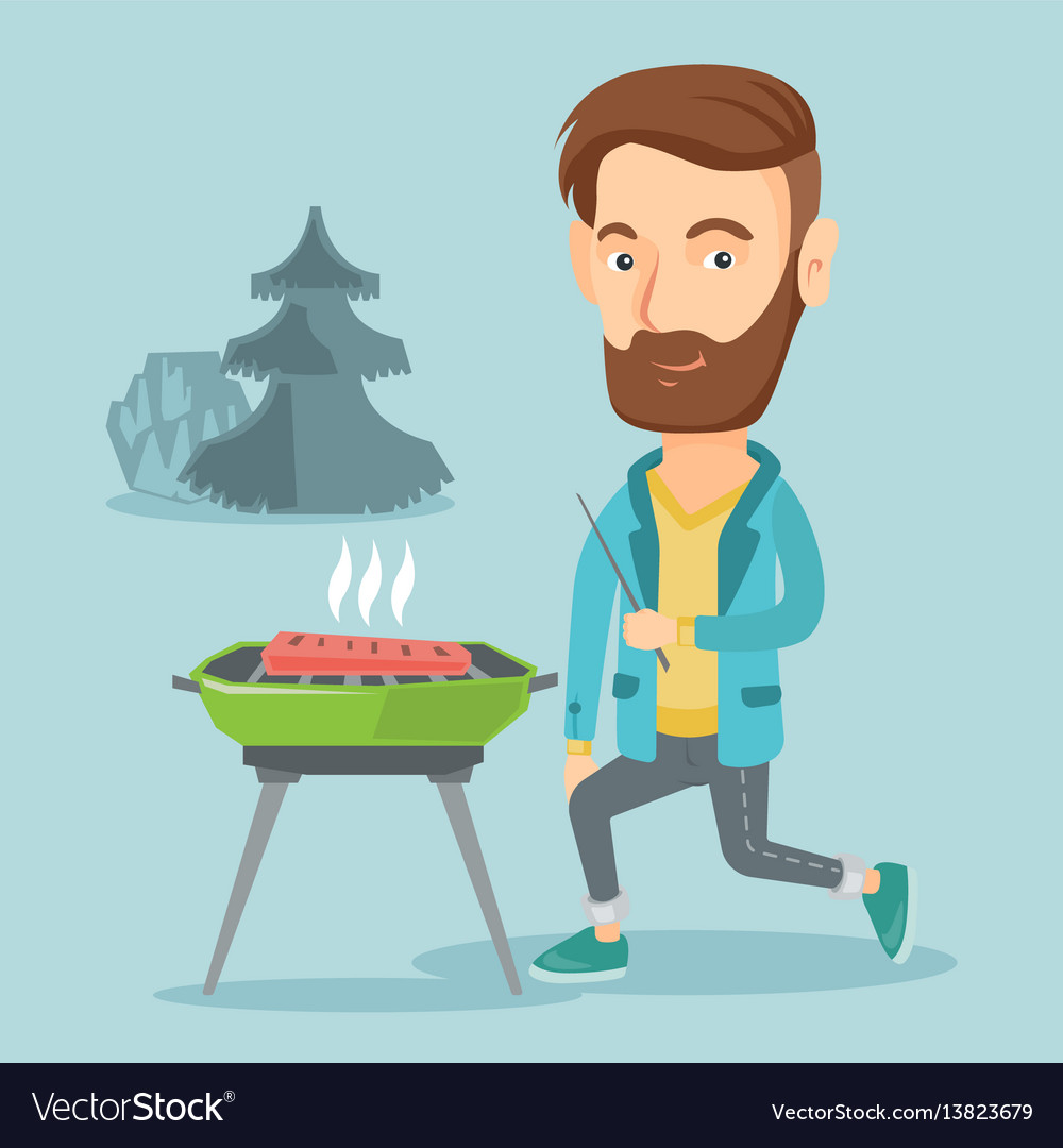 Man cooking steak on barbecue grill