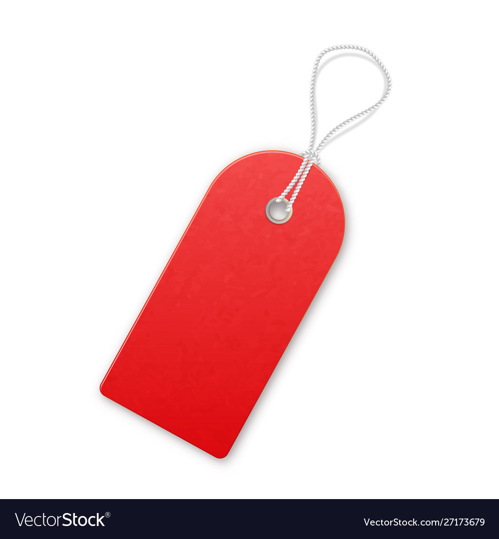 Red realistic textured sell tag with rope Vector Image