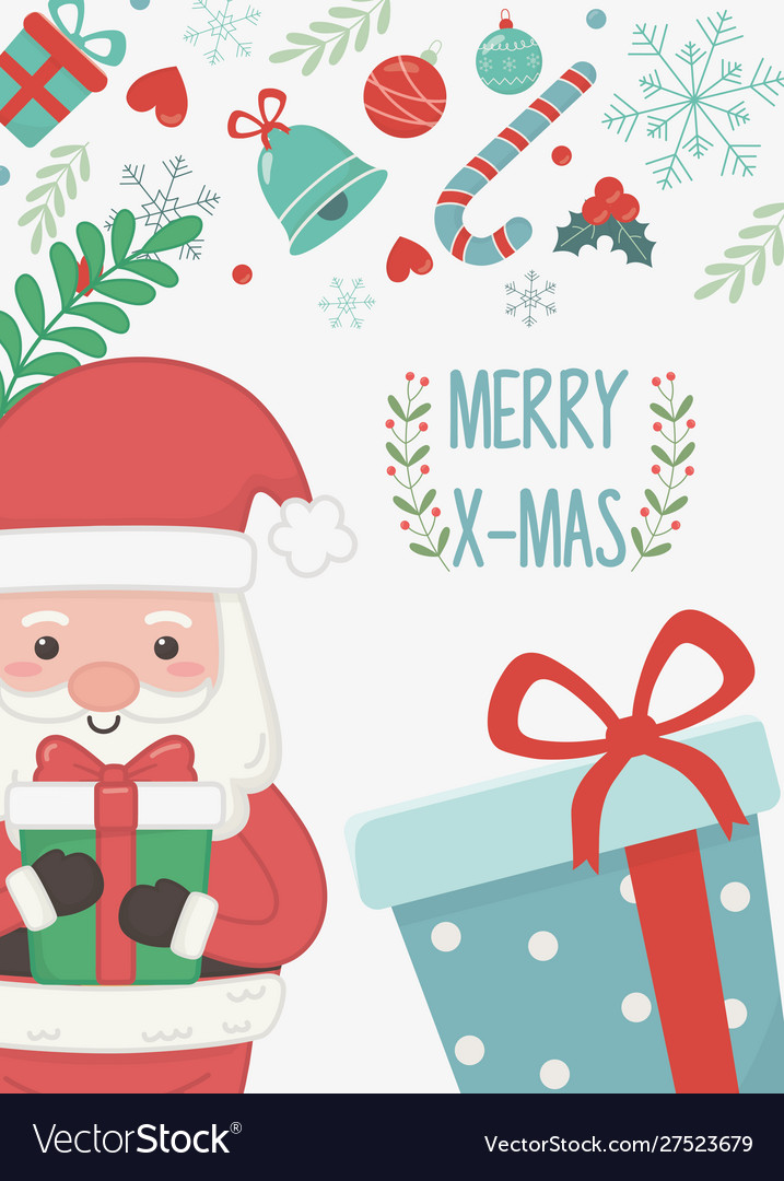 Santa with gift boxes merry christmas card