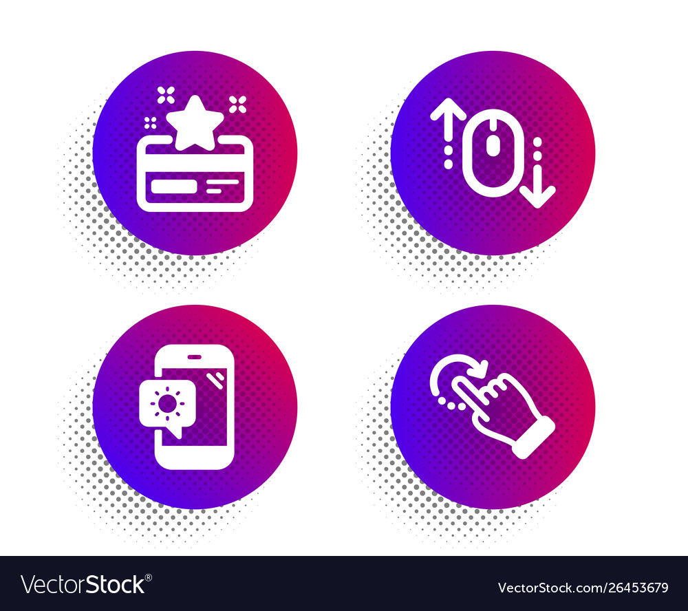 Scroll down weather phone and loyalty card icons vector image