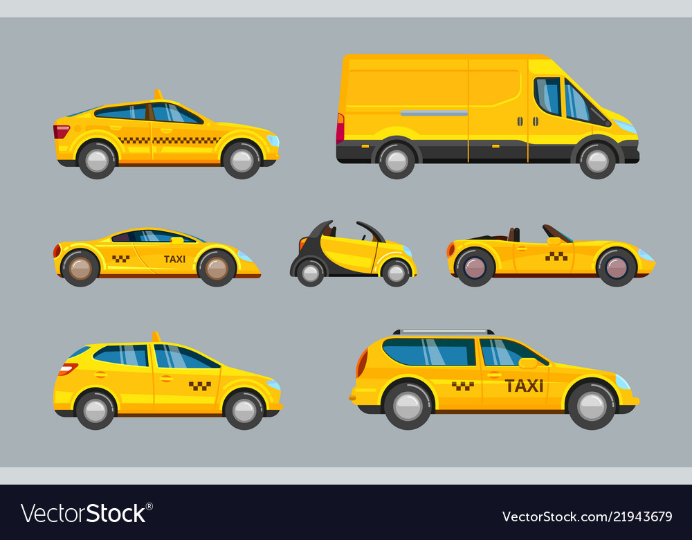 Taxi cars collection of service yellow cab