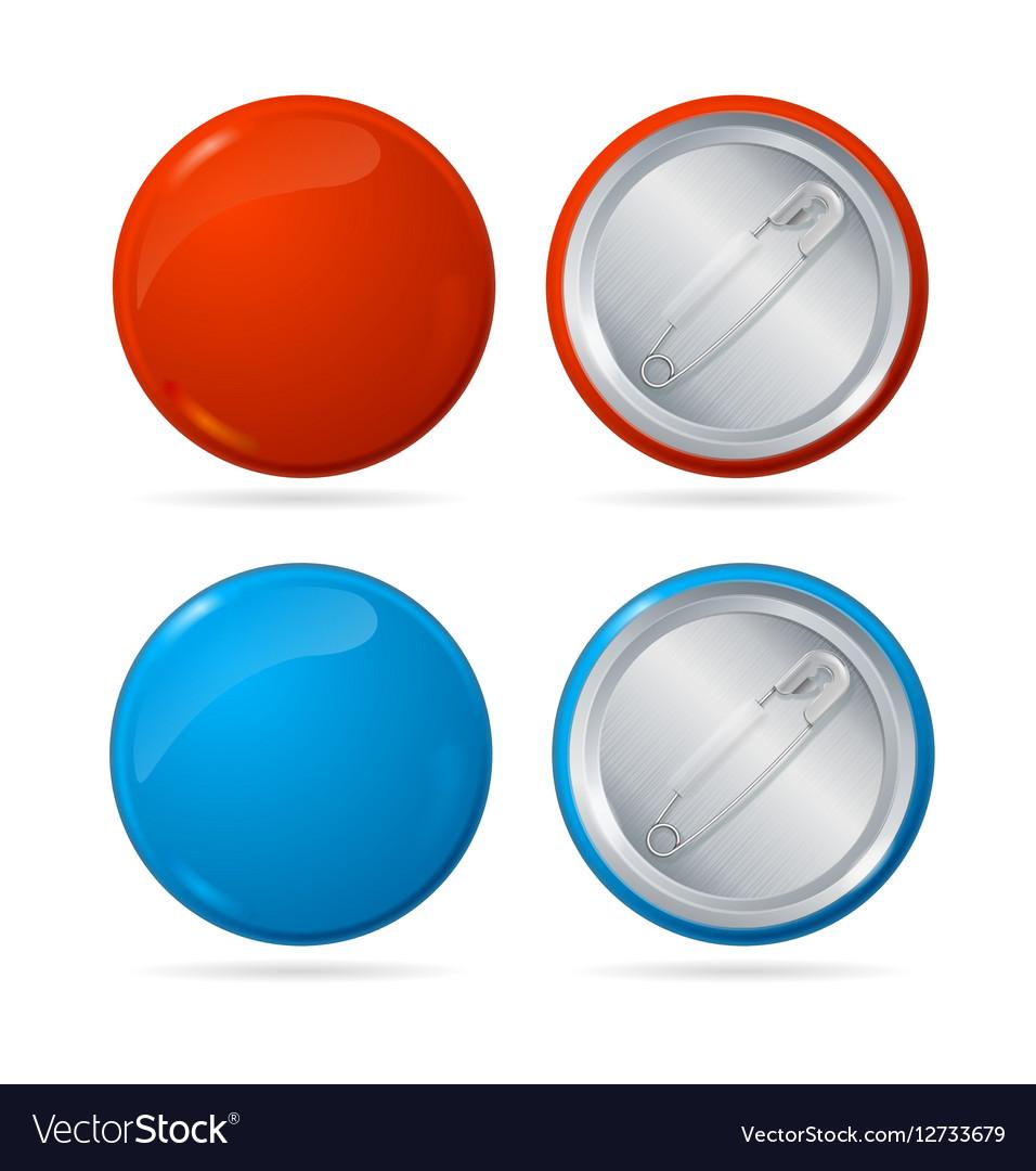template color blank circle button badge pin set vector image