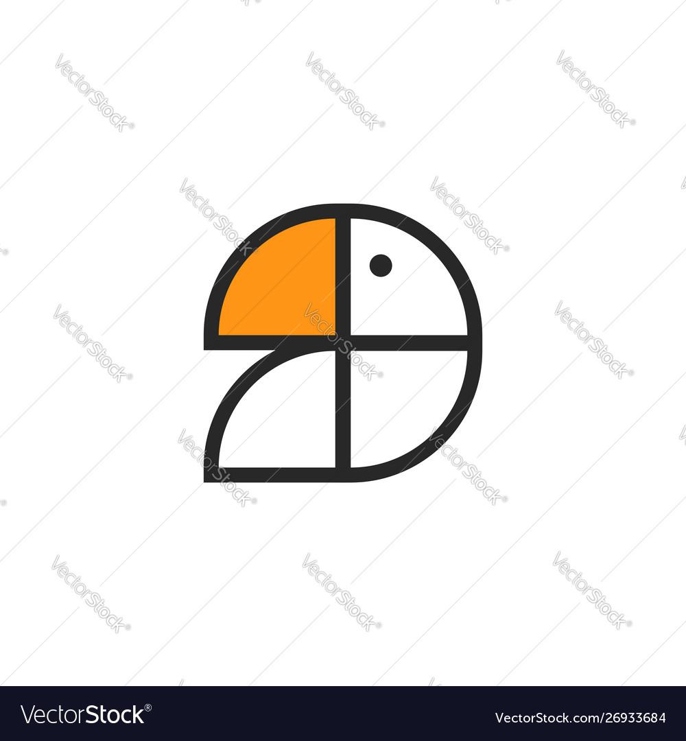 Abstract toucan bird or parrot logo simple forms