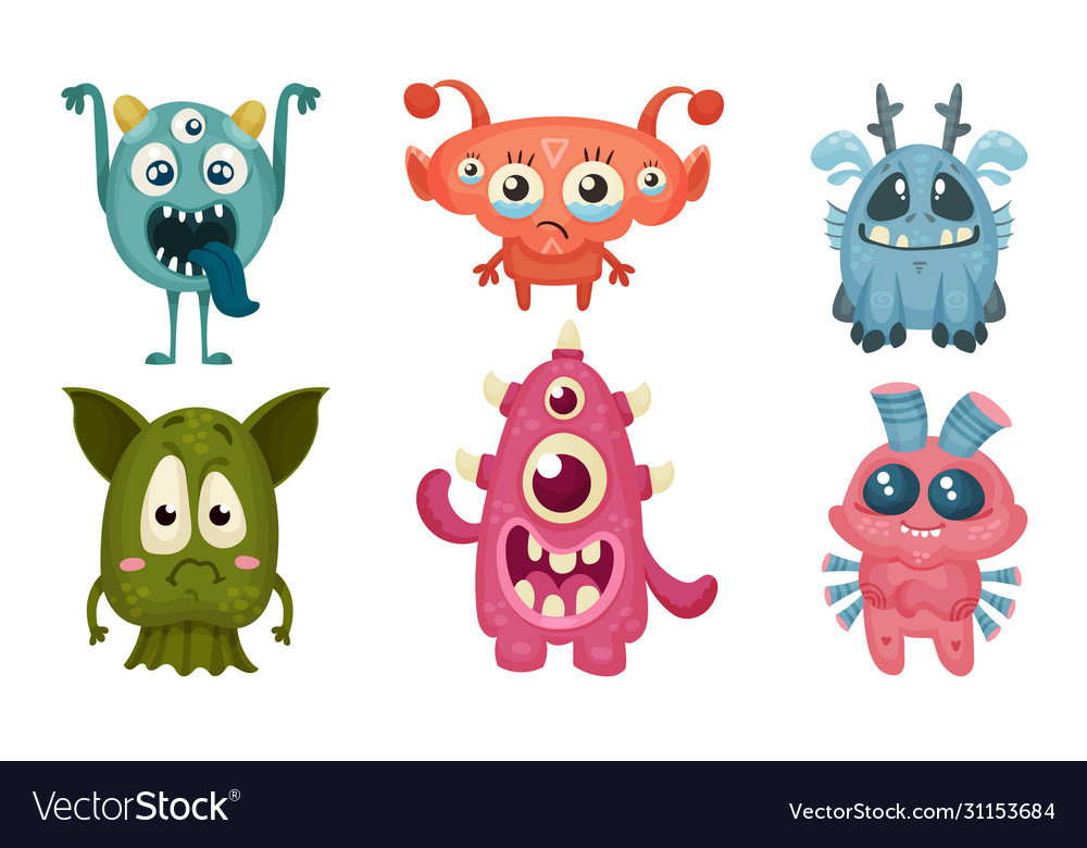 Big Eyed Monsters With Horns Expressing Emotions Vector Image