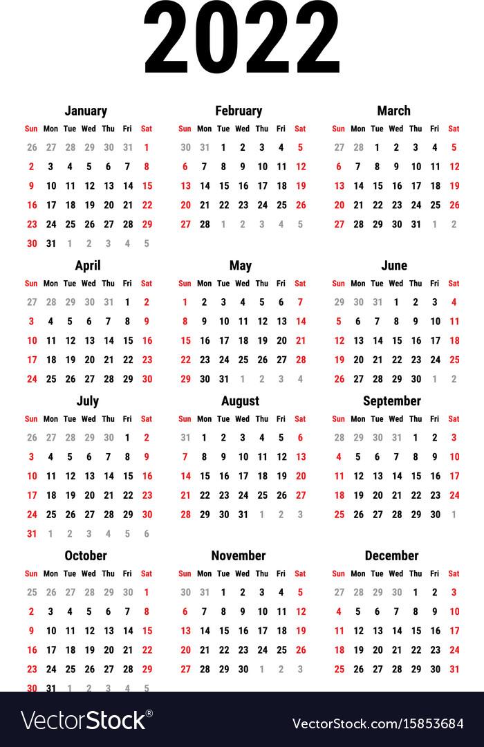 Calendar for 2022 Royalty Free Vector Image - VectorStock