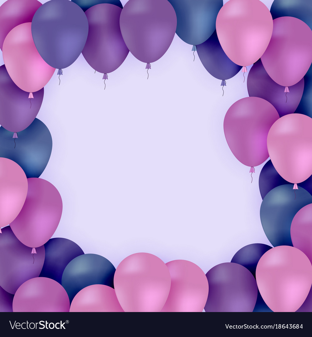 colored balloons on purple background royalty free vector