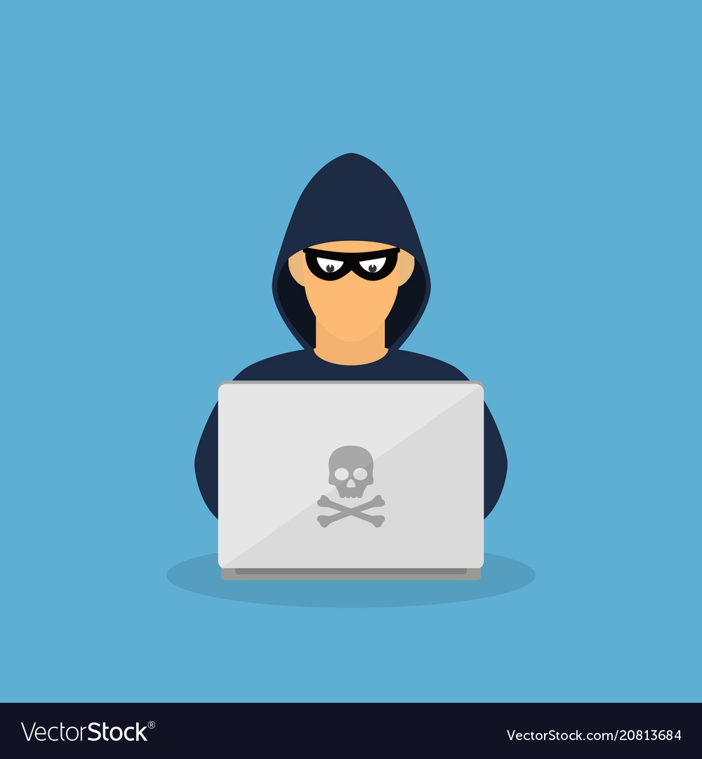 Criminal hacker with laptop