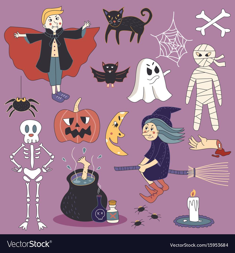 Cute spooky halloween ghost set