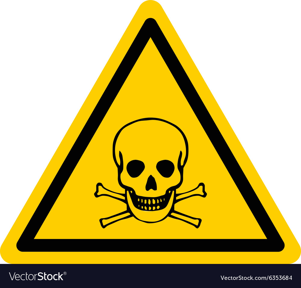 Danger sign with skull and bones