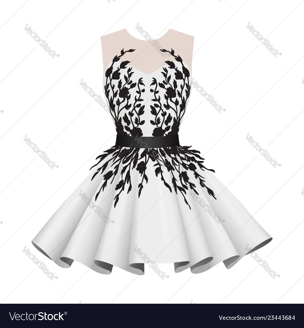 Elegant white with black women cocktail dresses Vector Image
