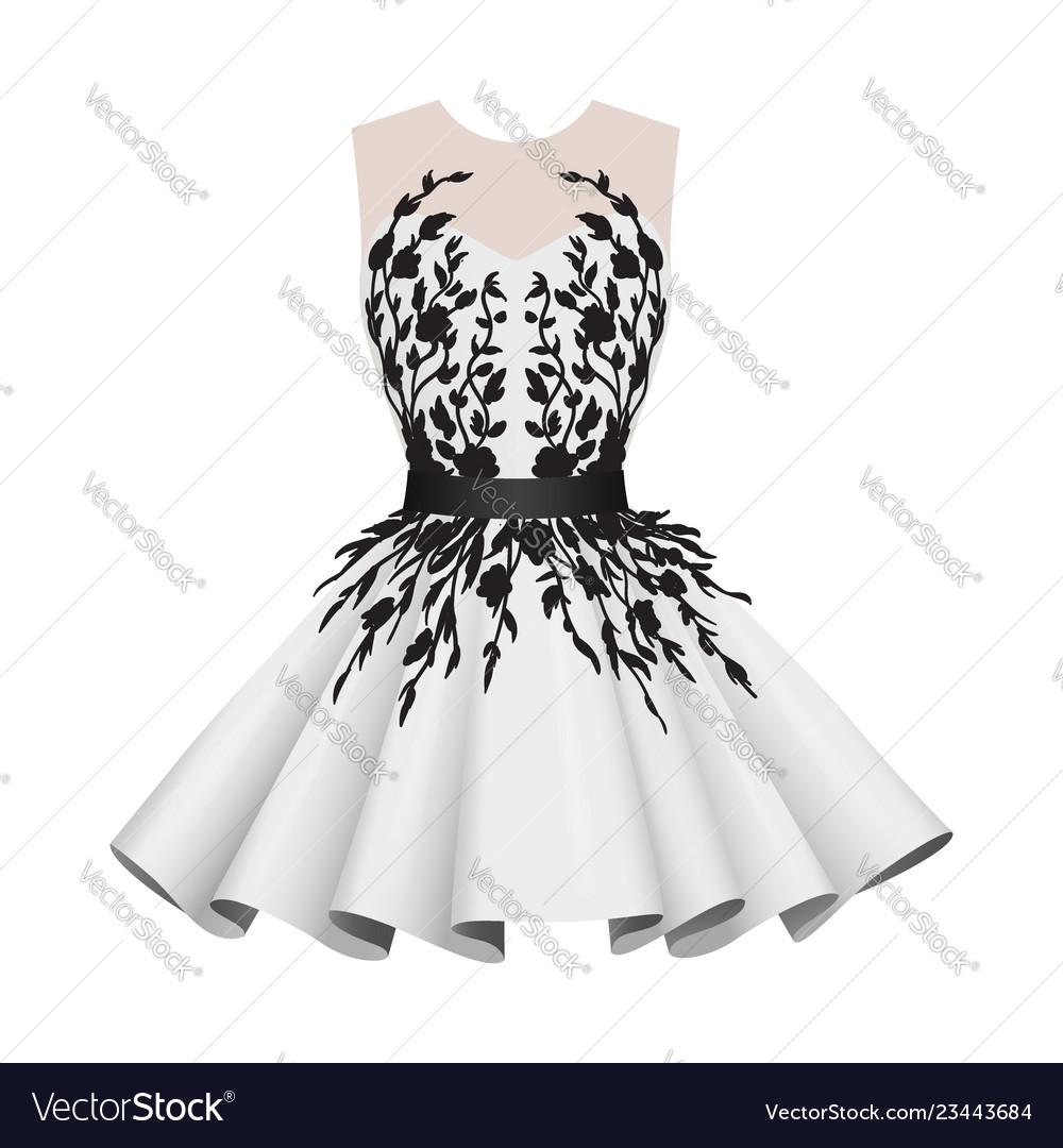 Elegant white with black women cocktail dresses