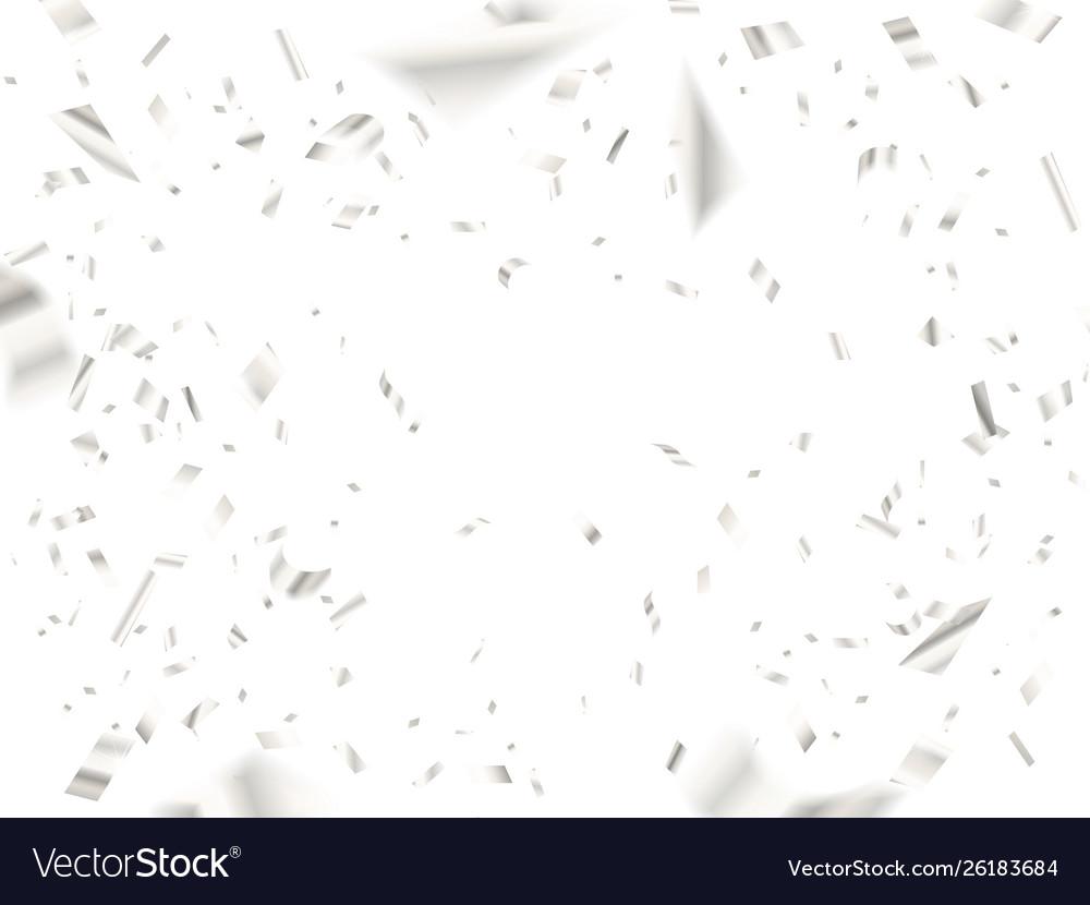 Falling white silver confetti on white background