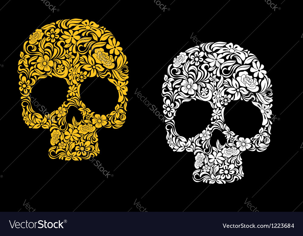 Floral skull in retro style