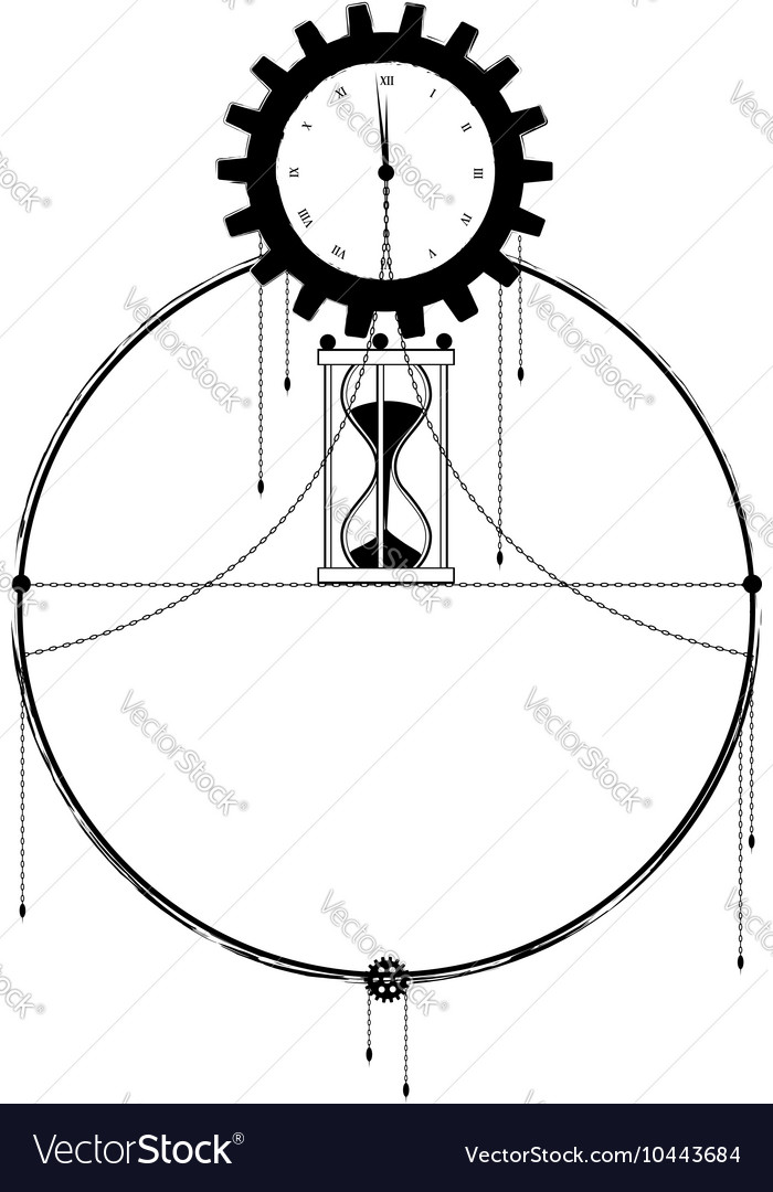 Frame with clock and sandglass