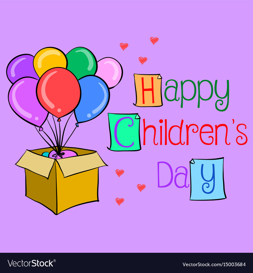 Happy childrens day colorful hand draw