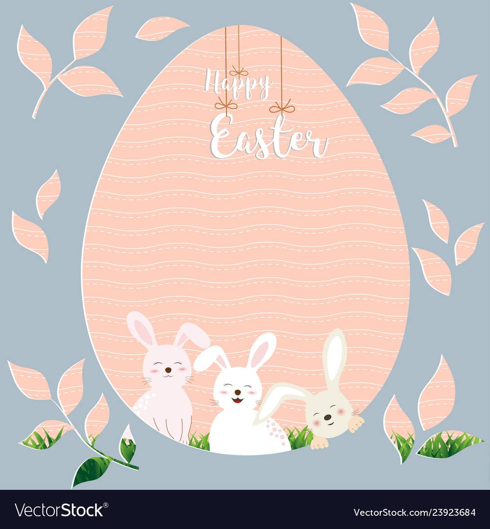 Happy easter with cute rabbits on egg shape