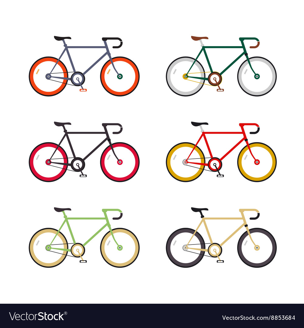 Hipster single speed bikes set City bicycles with