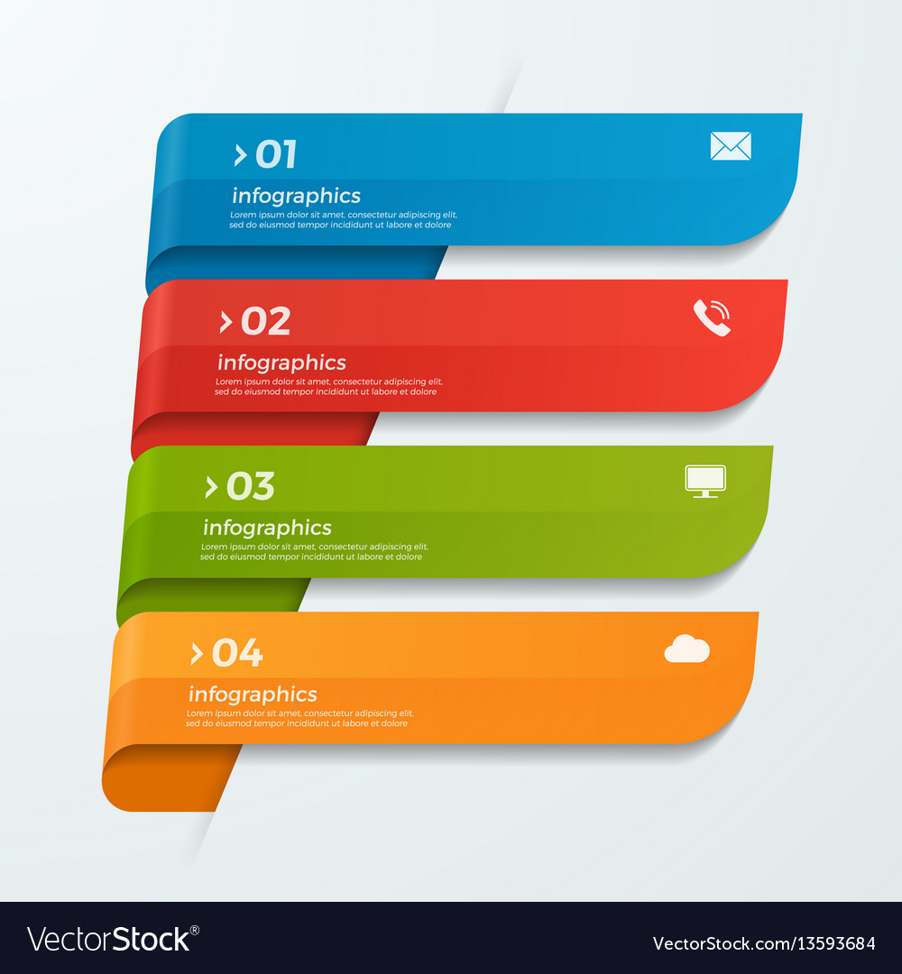 Infographic template with ribbons banners arrows