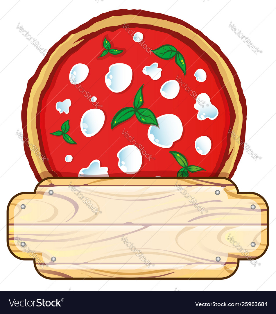 Italian pizza logo with empty wooden space