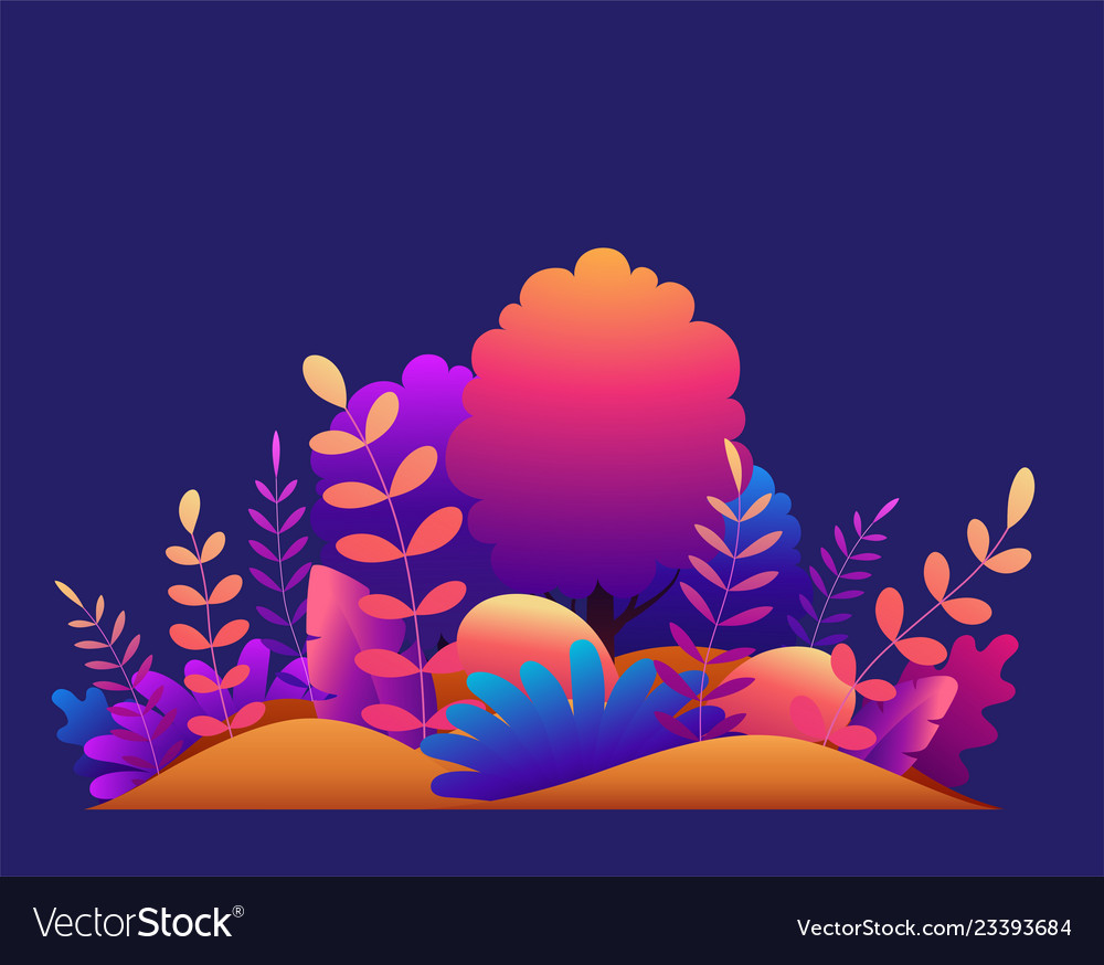 Magic forest with trees tropical and exotic