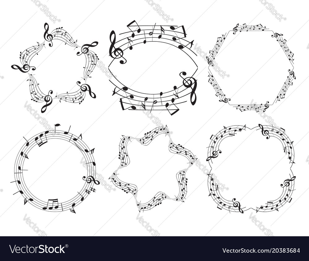 Music frames - beautiful set Royalty Free Vector Image