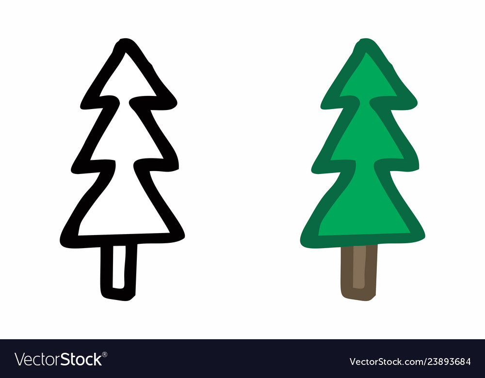 Pine trees freehand