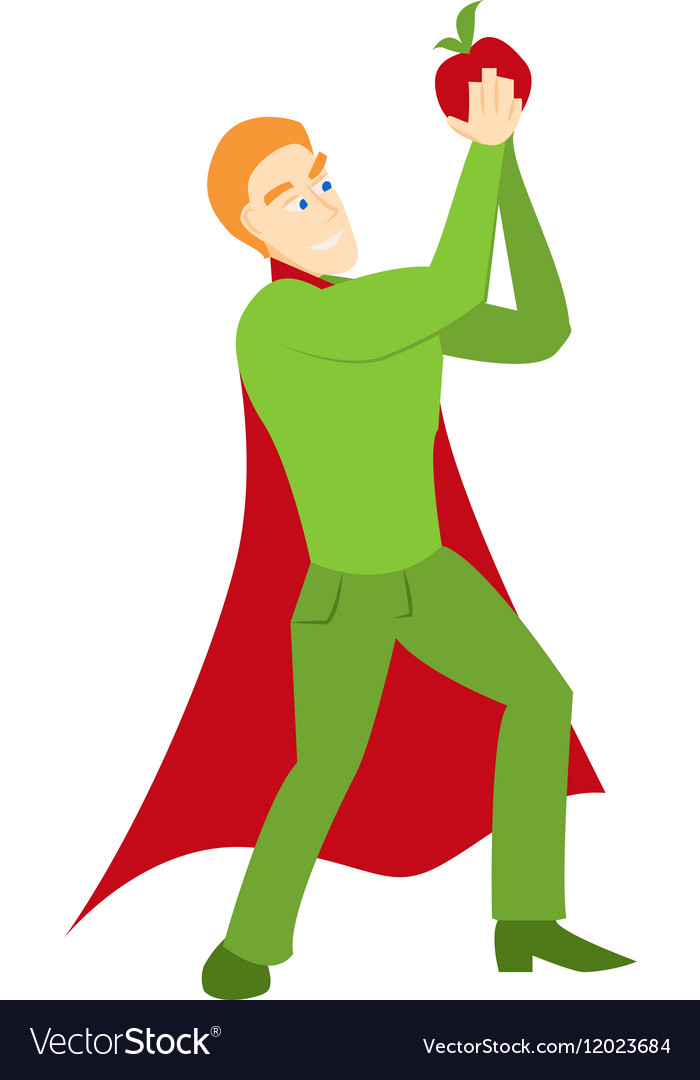 Superhero with apple icon vector image
