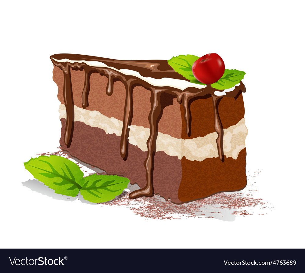 Cake with cream and cherry on a white background