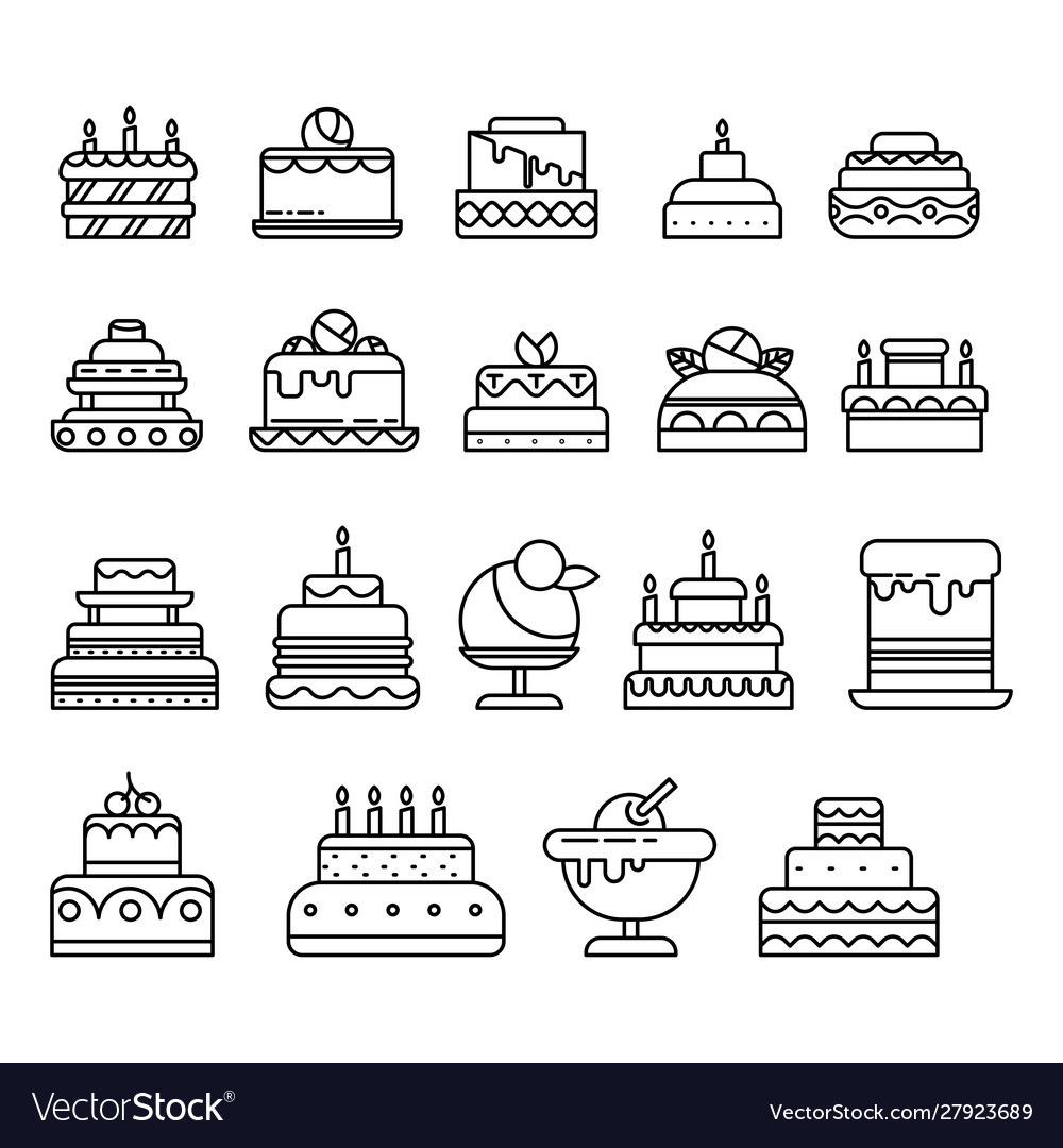 Cakes isolated line icon birthday and wedding