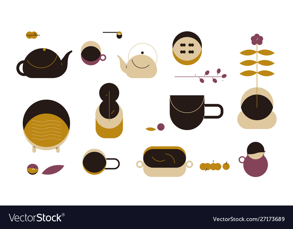 Coffee and tea set tea and coffee cups teapot vector