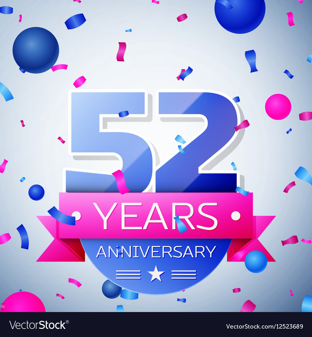 Fifty two years anniversary celebration on grey vector image