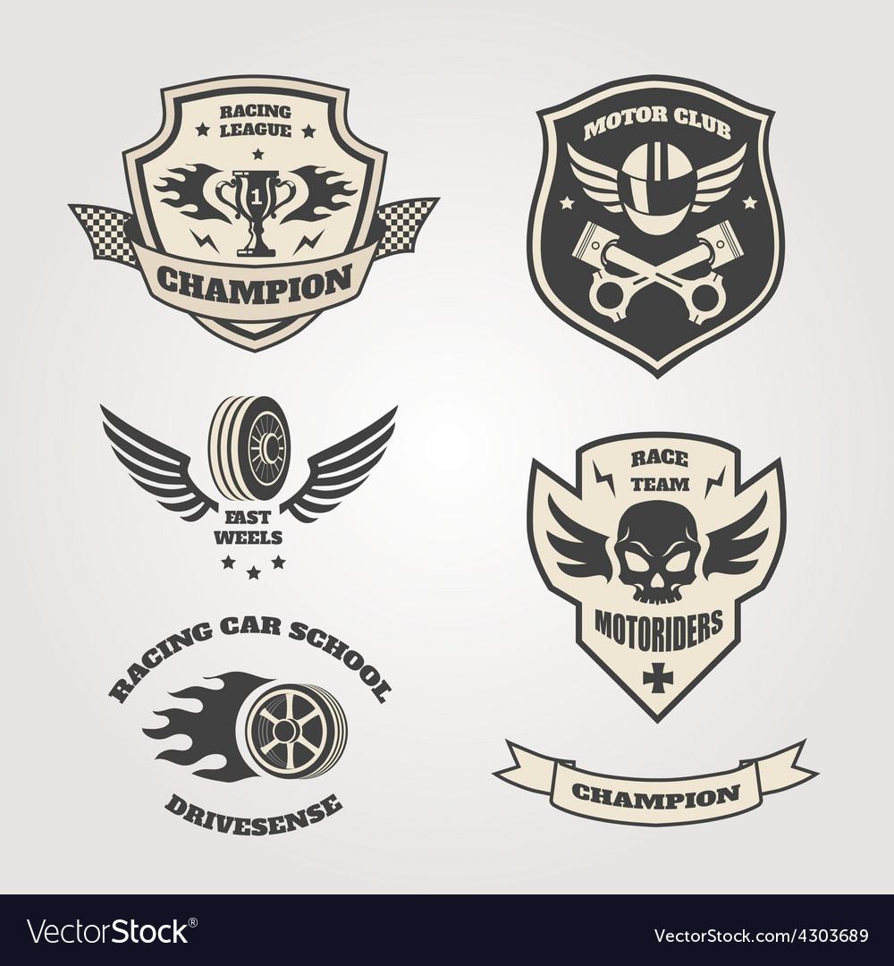 Grand prix racing motorclub emblems set isolated