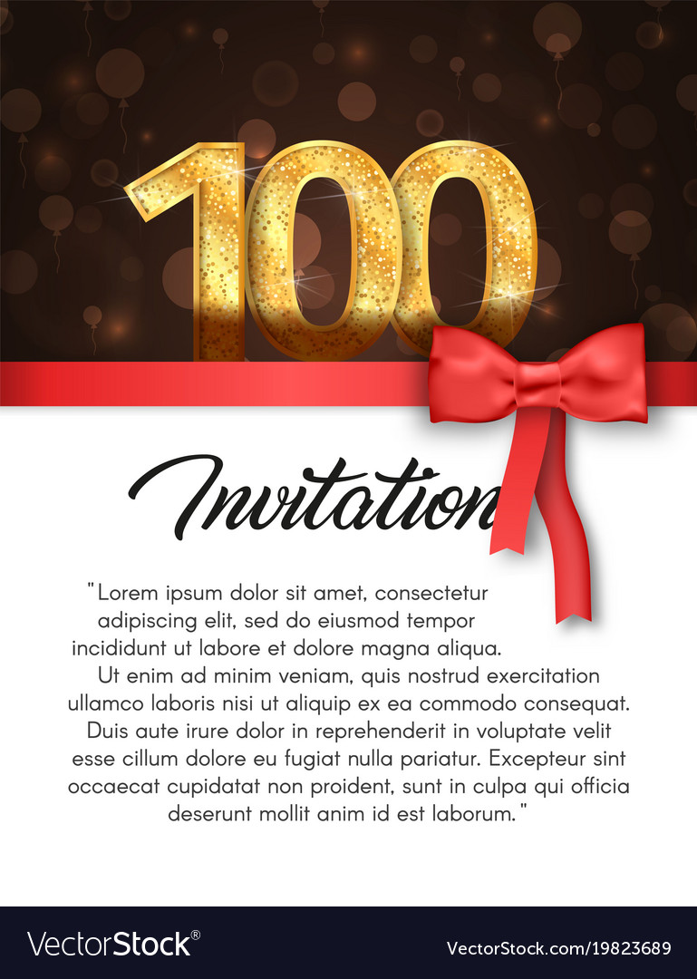 Invitation card for 100 years anniversary Vector Image