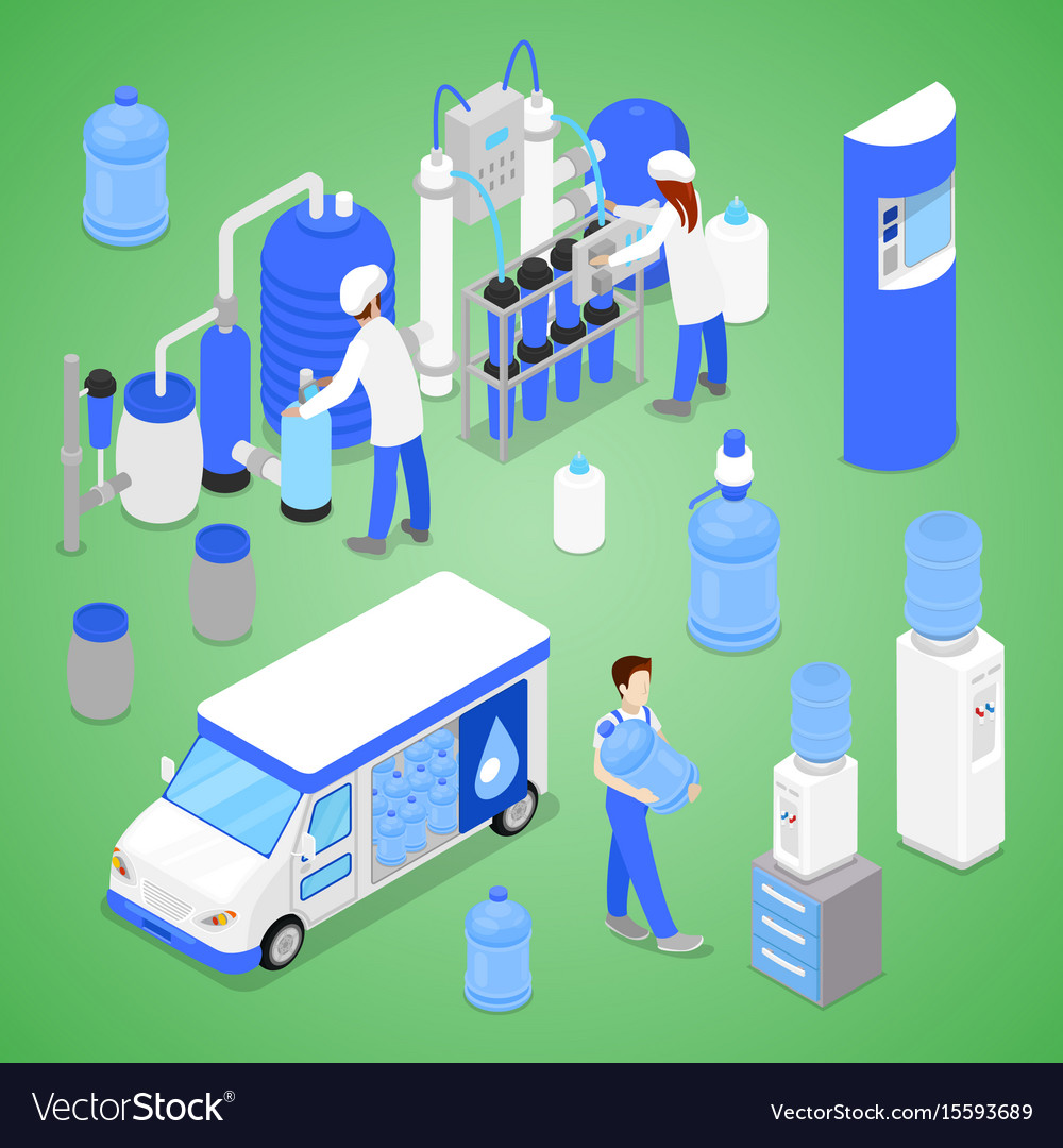 Isometric water purification factory with workers