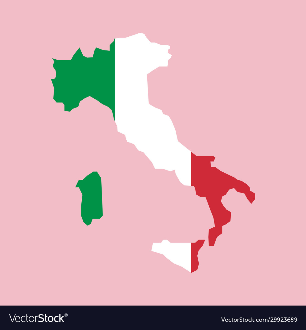 Italy flag placed over an outline map italy