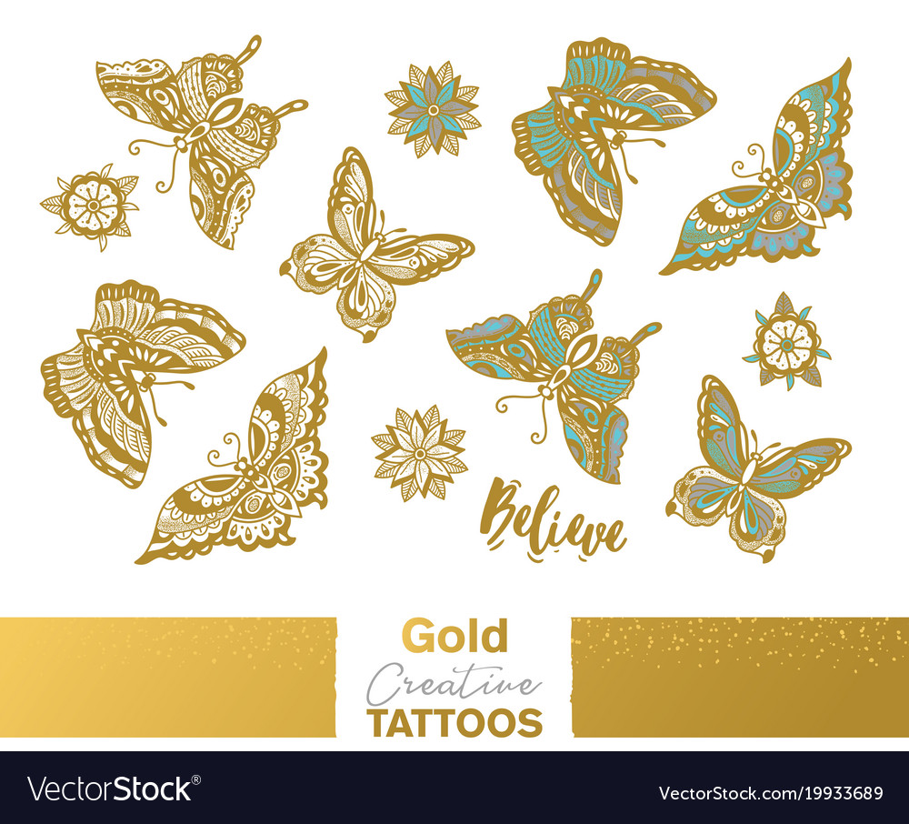 Metallic temporary tattoos gold silver