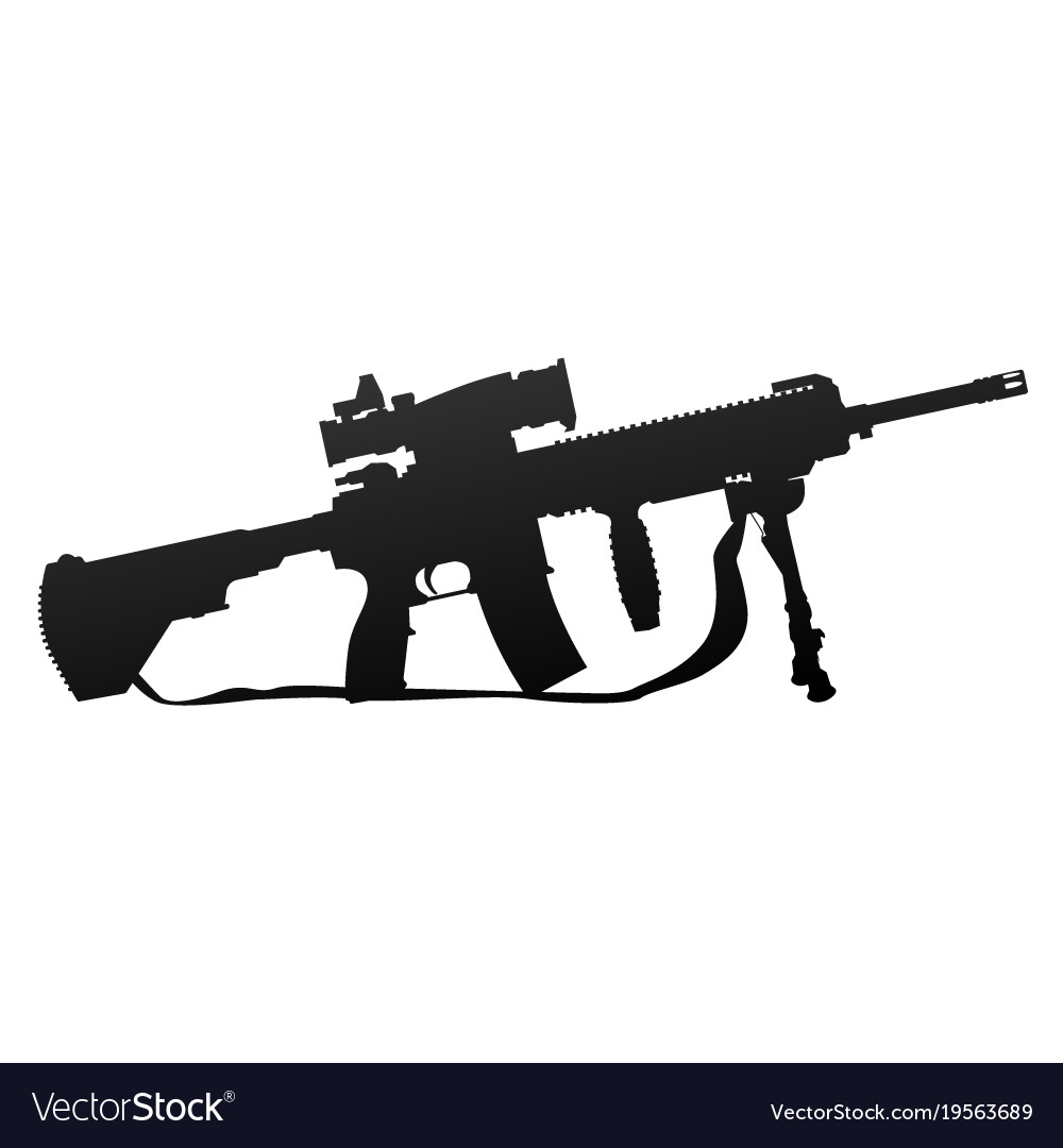 Military style automatic rifle silhouette
