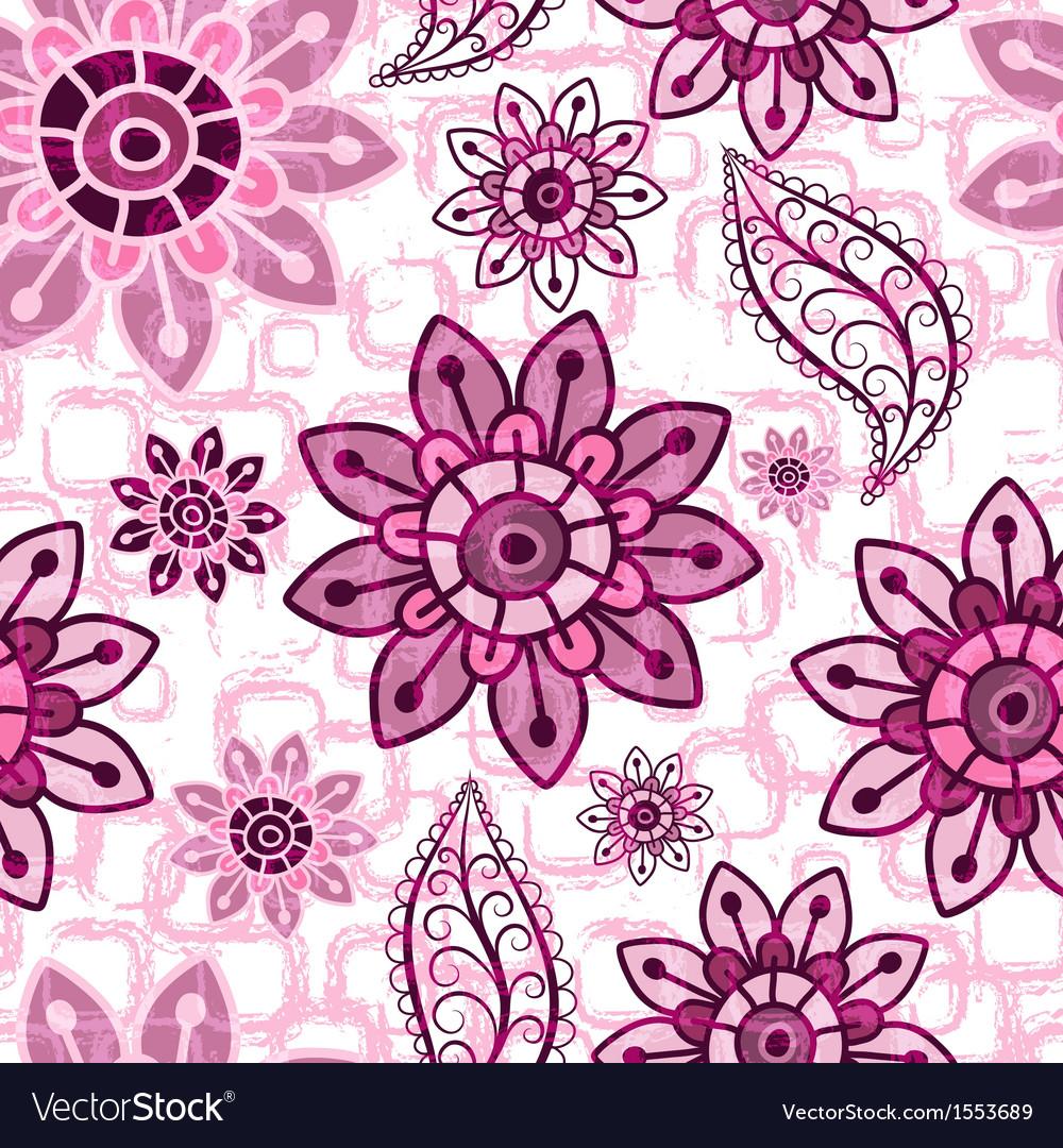 Pink floral seamless grunge pattern