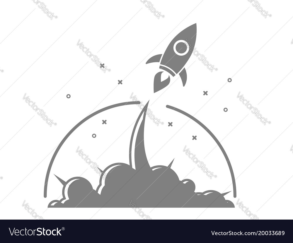 Rocket startup launch vector image