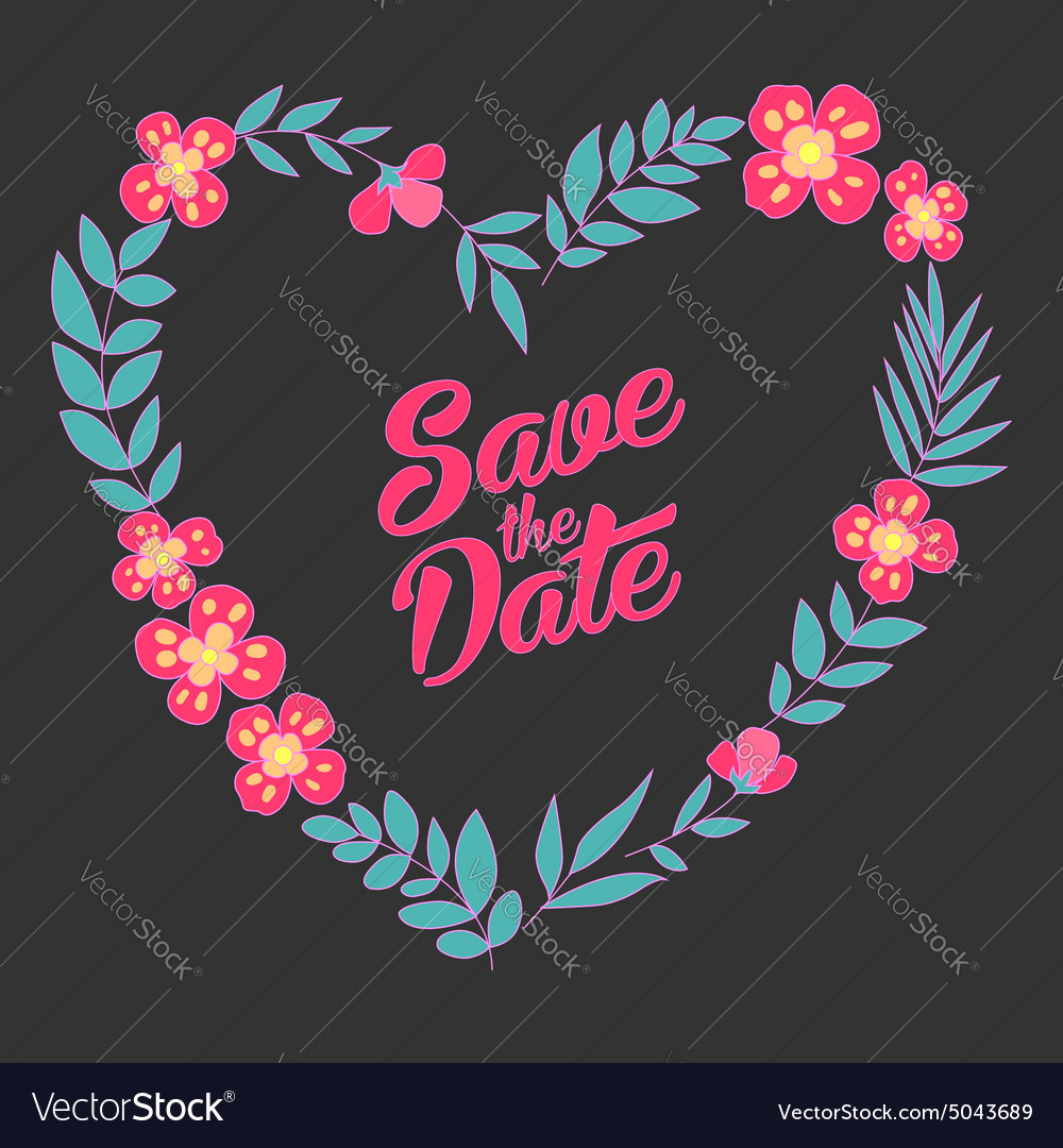 Save the date floral heart card Vintage wedding