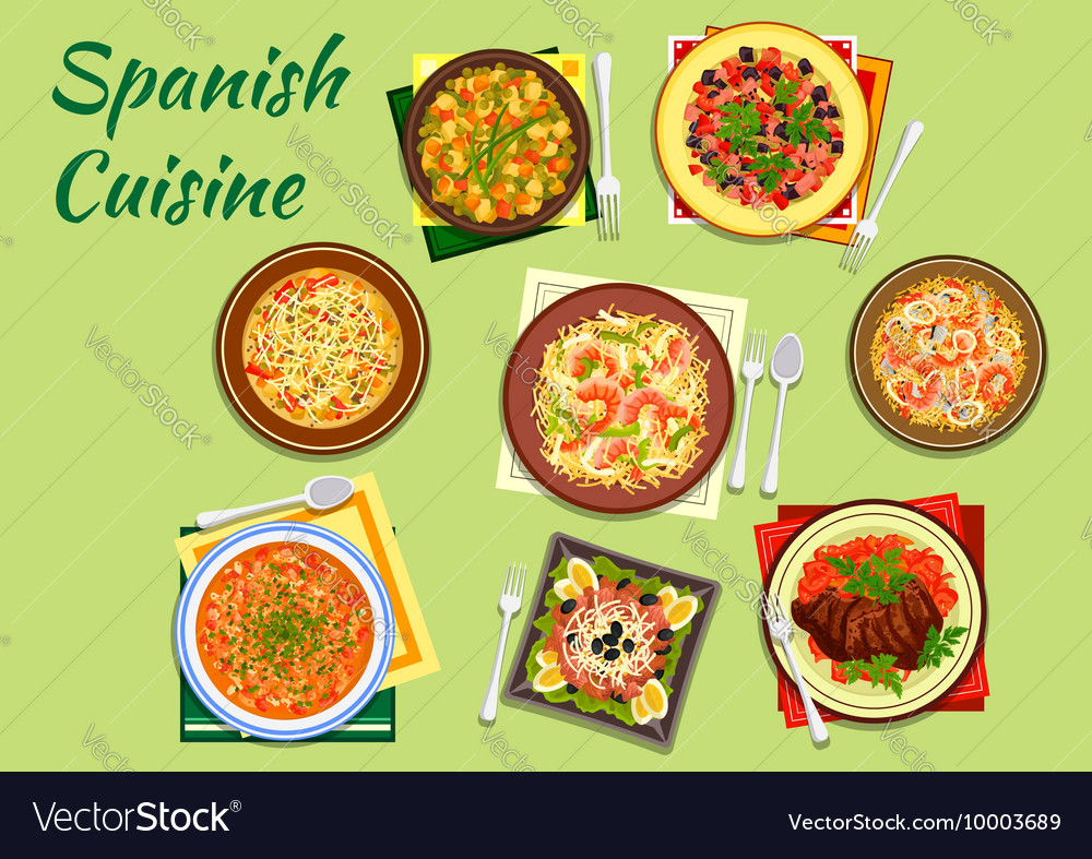 Seafood and meat dishes of spanish cuisine