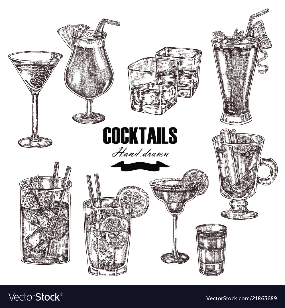 Set alcoholic cocktails hand drawn drinks in